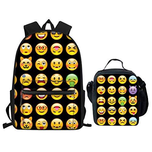 Kids Backpack with Water Bottle Holder Elementary School Boys Bookbags Girls with Lunch Box Set Adorable Emoji Design Black