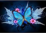 Kit completo per Diamond Painting Farfalla, Pittura a mosaico fai-da-te in 5D con perline,decorazione con foglia d'acero e farfalla, per decorazione da parete, 30 x 40 cm