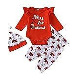 Geagodelia Vestito Natale Neonato 3 Pezzi Completo Neonata Pagliaccetto Rosso Manica Lunga +Pantaloni + Cappello Abito Bambina di Natale Il Mio Primo Natale 0-18Mesi (Rosso, 3-6 Months)