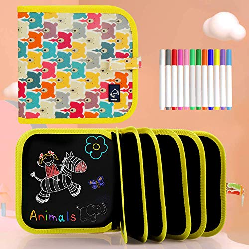 Tabla de Dibujo Portátil para Niños, Tablero de Dibujo de Graffiti, Bloc de Dibujo portátil borrable, Reutilizable,12 bolígrafos borrables de Color,14 Página (Bear)