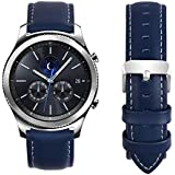 Fullmosa Compatible Samsung Galaxy 46mm/Gear S3 Frontier/Classic Watch Bands, Quick Release Leather Smart Watch Band for Gamin Vivoactive 4 and Active, 22mm Watch Band, Dark Blue + Silver Buckle