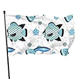 GOSMAO Bandera de 3x5 Ft Bandera de jardín de Peces de Acuario Azul Bandera Decorativa para el hogar Bandera de Patrulla de disuasión