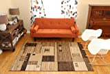 Feraghan/New City Brand New Contemporary Modern Square Boxes Area Rug, 8' x 10', Brown/Beige