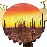 Saguaro Cactus Decor Collection Mantel redondo ideal Downlights sobre Sonoran Desert at Sunset Bottlebrush Arbusto Colores vibrantes Imagen de borrado rápido Amarillo Oliva Diámetro 71 pulgadas