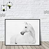 Geiqianjiumai Cuadro imprimible del Caballo Blanco Minimalista Art Deco Escandinavo Decorativo Dormitorio Carteles e Impresiones Animal Canvas Painting Frameless Painting 39x54cm