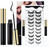 10 Pairs Reusable Magnetic Eyelashes and 2 Tubes of Magnetic Eyeliner Kit, Upgraded 3D 6D Natural Look Magnetic Fake Lashes and Liner Set - No Glue Need
