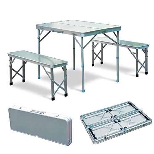 Outsunny Set Tavolo Pieghevole da Giardino con 2 Sedie da Campeggio Picnic Portatile Regolabile in Lega d'Alluminio 90x 66x 70cm Argento
