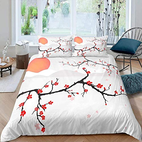 Rvvaceo Double Bed Duvet Covers Set Microfiber Silky Duvet Covers Set Soft Hypoallergenic, Easy Care 1 Quilt Cover+2 Pillowcases-King (240 X 220 Cm) Natural Plant Peach Blossom Flower Sunrise Scenery
