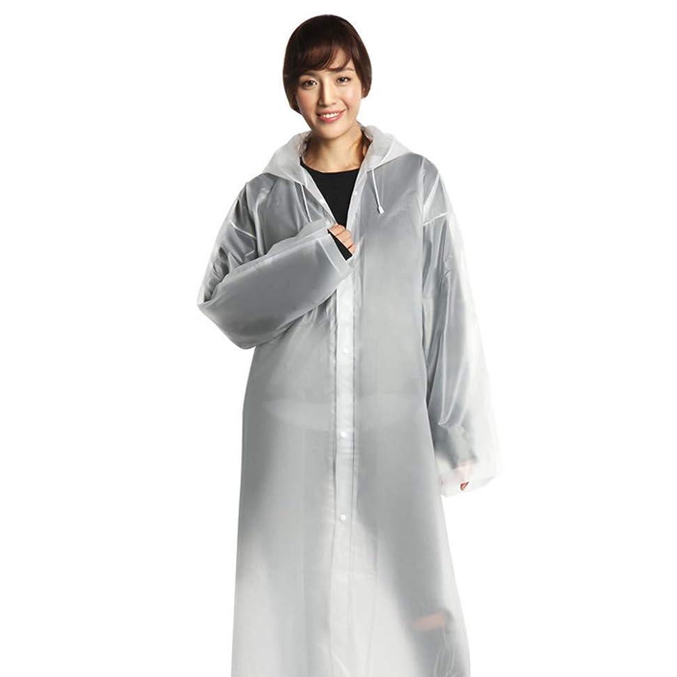 フリル代わりにを立てる困難レインコート EVA女性レインコート厚化防水レインコート女性クリア透明キャンプ防水レインウェアスーツフード付きポンチョ