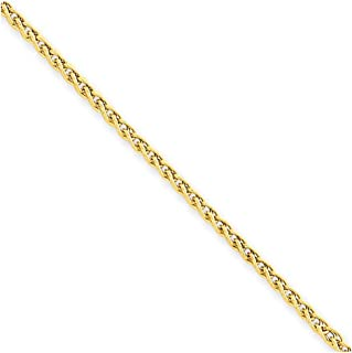 14k Yellow Gold 2mm Link Wheat Anklet Ankle Beach Chain Bracelet : Fine Jewelry Gifts For Women For Her