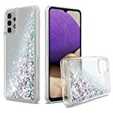 UNC Pro for Samsung Galaxy A32 Case 5G Version, Quicksand Glitter Cell Phone Case, TPU Liquid Flowing Sparkle Hybrid Case Shockproof Bumper Cover, Silver