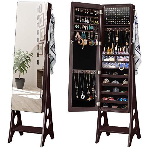 YOKUKINA LED Jewelry Cabinet Armoire, Large Storage Lockable Organizer with Frameless Free Standing Dressing Mirror