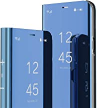 indiacase mirror flip back case cover for xiaomi redmi note 9 clear view magnetic stand case compatible with xiaomi redmi note 9 (diamond blue)