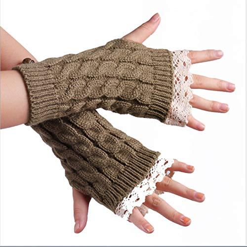 Guanti caldi invernali, guanti invernali in pizzo moda da donna senza dita lavorati a maglia guanti da polso - kaki