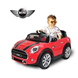 Homcom BMW Mini Hatch Voiture Véhicule Electrique Enfant 12V 2 Moteurs 2.5-5KM/H Télécommande Musique Phare Rouge (Rouge)