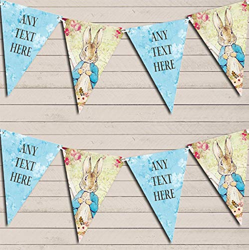 Shabby Chic Vintage Peter Rabbit Blue Banner Children's Party Personalised Bunting Banner Garland