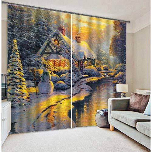 MAOYYM2 Kerst Schilderij Verduisteringsgordijnen Woonkamer Hotel Drapes Cortians Zonnescherm venster 3D Gordijnen H108 X W120Inch