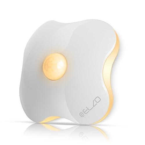 Lampe Détecteur de Mouvement, ELZO Veilleuse LED Lampe de Placard Automatique Sans fil avec Rechargeables USB, Ruban Adhésif 3M et Facilité d'installation pour Chevet, Cabinet et Stairs (Chaude)