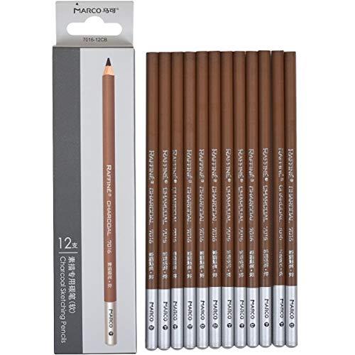Paquete de 12 lápices de carbón de artista 7016 – Color gris suave medio duro – gris pastel – lápices de dibujo gris carbón pastel (gris pastel)