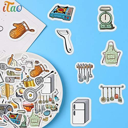 BLOUR 40 Uds Suministros de Cocina de Dibujos Animados Pegatinas de papelería Impermeable Creatividad álbum Diario decoración Etiqueta Scrapbooking niños Pegatina