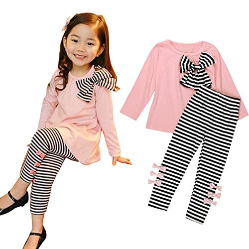 2 Pezzi Set di Vestiti per Bambina Abiti Pagliaccetto a Maniche Lunghe con Pantaloni con Fiocco Set di Abbigliamento per Neonate
