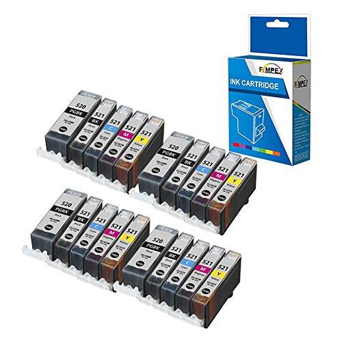 Fimpex Compatible Tinta Cartucho Reemplazo para Canon Pixma iP3600 iP4600 iP4700 MP540 MP550 MP560 MP620 MP630 MP640 MP980 MP990 MX860 MX870 PGI-520/CLI-521 (BK/C/M/Y, 20-Pack)