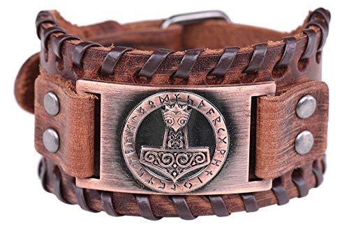 Vintage Amulett gotischen nordischen Mythos Thors Hammer Wikinger Runen keltischen Irish Knot braun Leder Gürtelschnalle Armband (braunes Leder, antikes Kupfer)