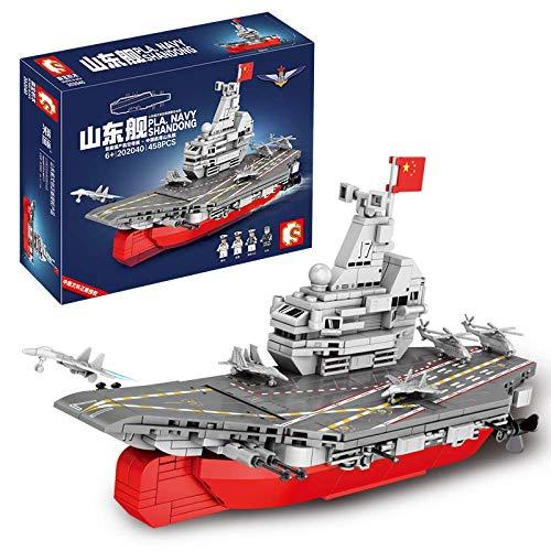 Qバージョン山東船組み立て少年軍空母ビルディングブロックギフトおもちゃ