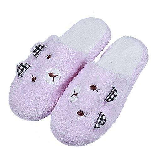 Pantuflas Mujer Invierno Peluche, Chanclas Mujer con Piel Invierno de casa, Zapatos Antideslizantes, cálido Suave Confort Lovely Pig Home Floor Zapatillas de Rayas Suaves Zapatos Femeninos CO 42
