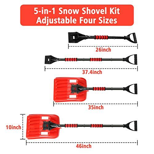 Tvird Schneeschaufel Schneeschieber Schneeräumer Schneeschippe Schneeschaufel mit D-Grip-Griff Reflektierender Streifen,rutschfest Teleskop-Stiel, ideal für Einfahrten Notfälle(Aluminium-Stiel) - 2