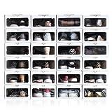 Enorden 48 Cajas Zapatos Organizador Zapatero Transparente Apilable Blanca Ecológico, Cartón de Fuentes renovables, hasta Talla 45 24x13x33cm Ahorra Espacio en el guardado del Calzado.