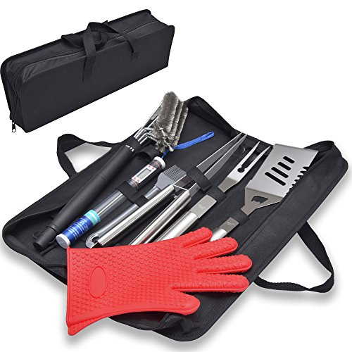 SALE! ALL-IN-ONE PROFESSIONAL PREMIUM BBQ GRILL SET. BEST CHRISTMAS GIFT.BBQ grill set with Stainless Steel Spatula, Tongs, Fork, BBQ Meat Thermometer, Grill Cleaning Brush, Glove, Basting Brush,Case.