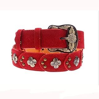 Ladies Leather Belt Diamond Vintage Women's Patch Antique Belt (Color : Red)