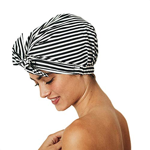 Product Image of the Kitsch Luxury Shower Cap for Women - Waterproof, Reusable Shower Caps (Black and White Stripe)