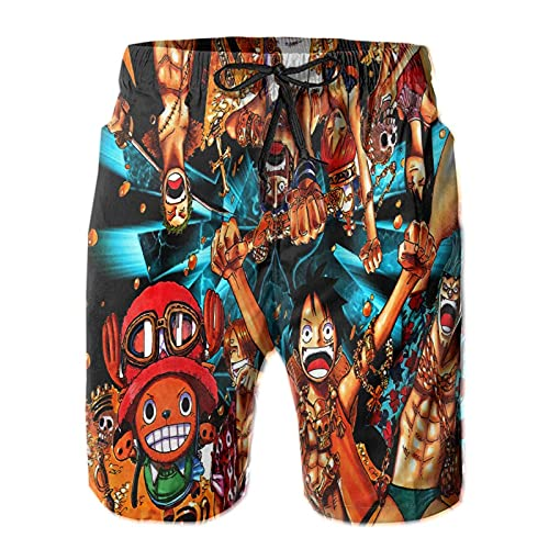 RIPEPIN One Piece Anime Mens Swim Trunks Quick Dry Printed Beach Shorts Breathable Youth Beach Surfing Board Shorts