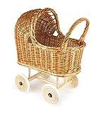 Egmont Toys vimini carrozzina con ruote in gomma e biancheria da letto