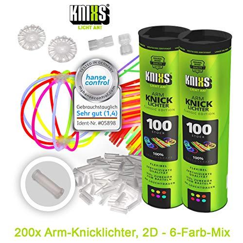 KNIXS Knicklichter inkl. 200x 2D-Verbindern, 4x Kreisverbinder, 4x 7-Loch-Verbinder im 6-Farb-Mix, in Profiqualität für Party, Festival, Geburtstag oder als Dekoration