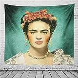 SK-PBB Frida Kahlo Und Blumenteppich, Die Rauchenden Frauen Mit Kaffee Mexiko Frauen Maler Wand Teppich Figur Porträt Wand Dekor Plakat Wohnheim Fasermaterial (6, 240 x 220 cm)