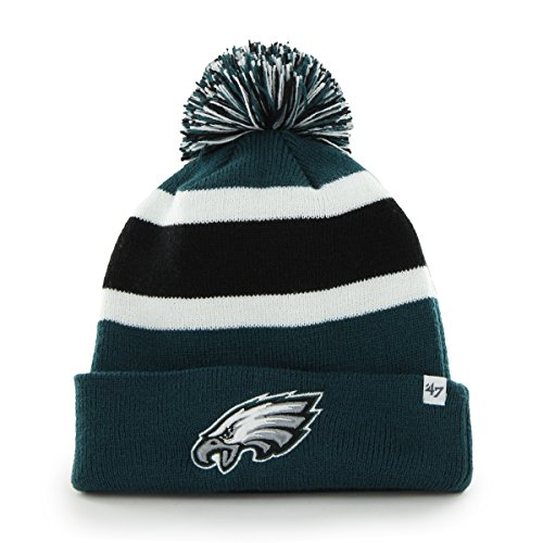 NFL Philadelphia Eagles '47 Brand Breakaway Cuff Knit Hat with Pom, Pacific Green, One Size