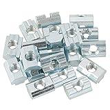 Niunion Écrous, 20 pièces écrou à tête de Marteau en Acier au Carbone plaqué Zinc écrou Coulissant à rainure en T pour Accessoires de Profil en Aluminium Ecrou pour Rainure(M8)