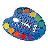 Paleta 12 pastillas de acuarela Ø45 mm con tubo blanco y 2 pinceles