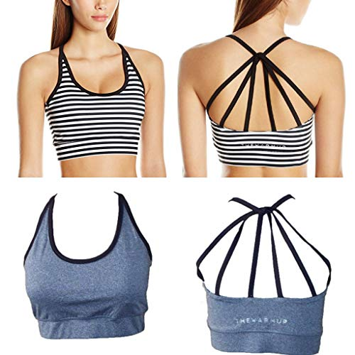 By Jessica Simpson 2 Pack - The Warm Up Junior's Strappy High Impact Padded Sports Bra with Contrast Criss-Cross Piping (Medium, 2 Bras - Gray & Striped)