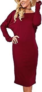 فستان نسائي بدون كتف واحد لون سادة بفتحة إصبع الإبهام فستان للحفلات متوسط الطول
