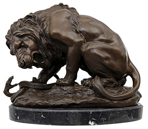 Scultura leone serpente in bronzo anticato figura statua 41cm
