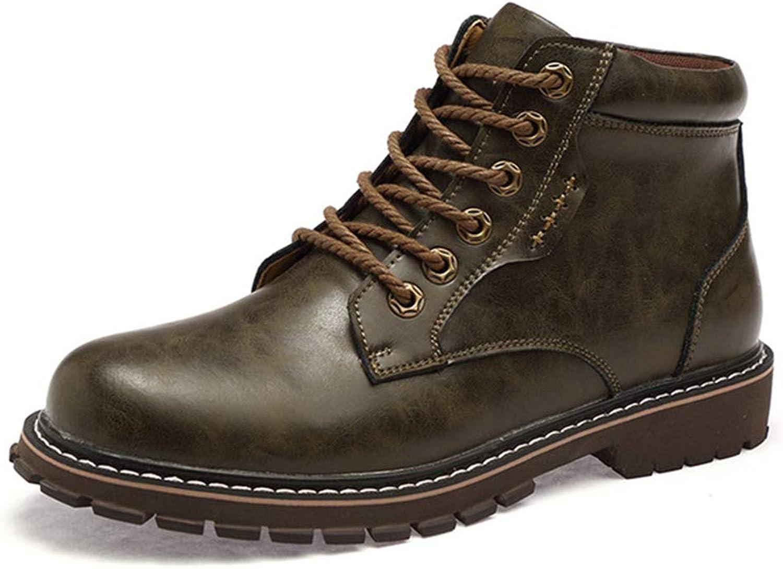 GordonKo Vintage Men Lace-Up Autumn Winter Split Leather Boots Men Waterproof Work Men Ankle Boots