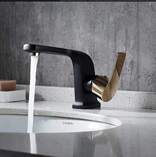 WYRKYP Fregadero Grifo Cuarto de Baño Fregadero Grifo de Cocina Fregadero Grifo de Cuenca Grifo Latón Diseño Único Diseño de Baño Lujoso Palanca de Lujo en Blanco Y Negro Fregadero Grifo Grifo Grifo