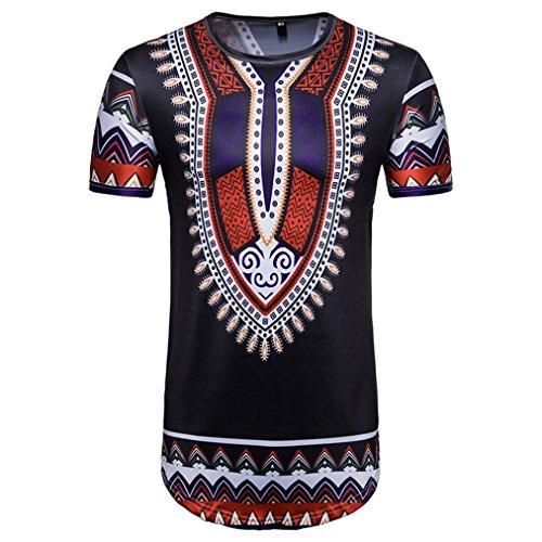 Lilicat Herren Sommer T-Shirt Kurzarm T-Shirt Casual Tank Top Retro Oberteile Vintage Bluse Beiläufig Afrikanischer Druck Rundhals Elegant Hemden Mode Tuniken Sports Tunika (XL, Schwarz)