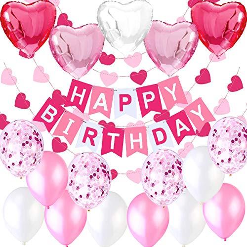 """Décoration Anniversaire Fille Deco - 1 Banderole Bannière Joyeux Anniversaire """"Happy Birthday"""" +5 Ballons Aluminium Coeur + 6 metres Guirlande + 12 Ballons Rose Blanc et Confeti"""