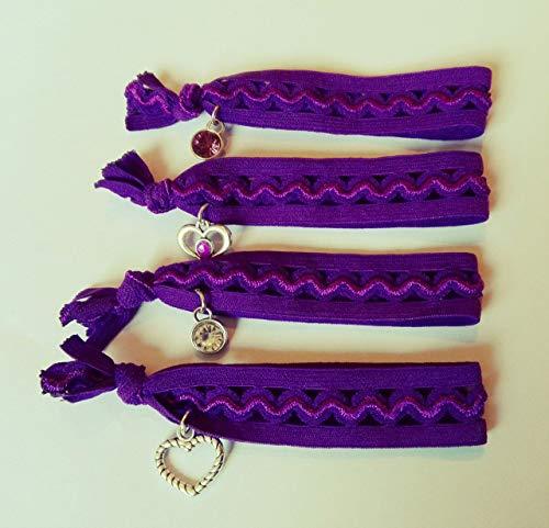 Haargummis, Armbänder mit Anhänger, Haar Accessoires,Muster, Haarband, Schmuck, lila Mädchen Armband, Haargummi mit Anhänger