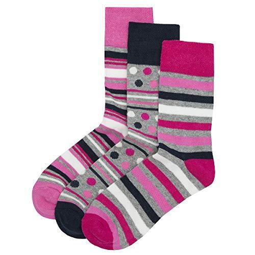 Unbekannt Style It Up Damen Socken Schwarz * Einheitsgröße Gr. 37/41 EU, 3 Pair Pack Pink Stripe
